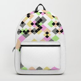 Abstract geometric pattern. Small colored squares on white. Backpack