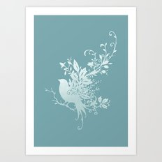Flower Bird Art Print