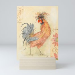 Tuscan Rooster Red Mini Art Print