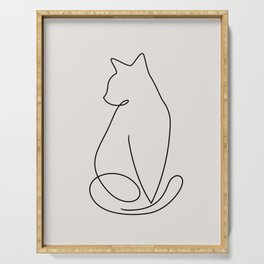 One Line Kitty Serving Tray