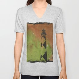 Cape Lookout lighthouse on the Outer Banks, North Carolina.  Watercolor painting Unisex V-Neck