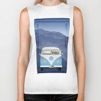 volkswagen Biker Tanks featuring Volkswagen Bus by Aquamarine Studio