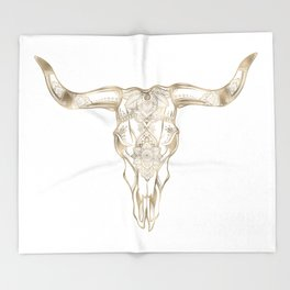 Bull Skull Gold Throw Blanket