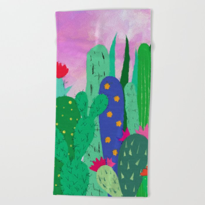 Painted cacti Beach Towel