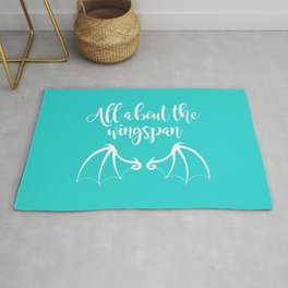 All About the Wingspan blue design Rug