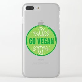 GO VEGAN, green circle Clear iPhone Case