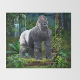 Silverback Gorilla Guardian of the Rainforest Throw Blanket