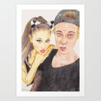 ariana grande Art Prints featuring Ariana and Justin by Share_Shop