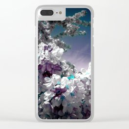 Flowers Purple & Teal Clear iPhone Case