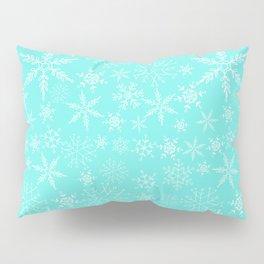 Mint Blue Snowflakes Pillow Sham