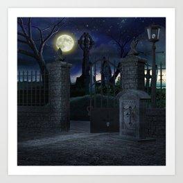 Graveyard #2 * Halloween Churchyard Scary Spooky Skeleton Tombstone Creepy Art Print