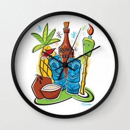Tiki Hawaiian Happy Hour by Art of Scooter Wall Clock