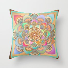 Bohemian Festival Lotus Mandala Throw Pillow