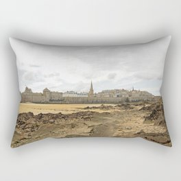 Cited of St Malo at low tide, under a cloudy sky (Brittany, France). Rectangular Pillow