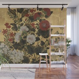 Flowers & Grapes Vintage Japanese Floral Gold Leaf Screen Wall Mural