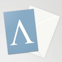 Greek letter lambda sign on placid blue background Stationery Cards