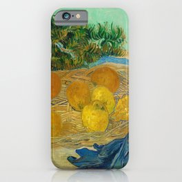 Still Life of Oranges and Lemons with Blue Gloves iPhone Case
