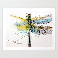 Crystallized Dragonfly Art Print