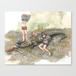 Crocodile Nap Canvas Print