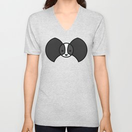 Black and white Papillon Unisex V-Neck