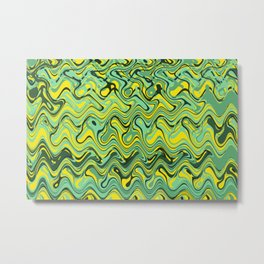 Abstract Wave yellow green Metal Print
