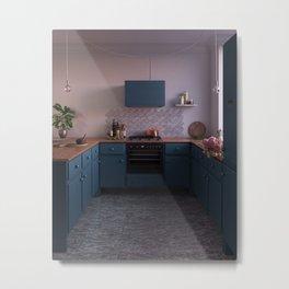 Blue kitchen at sunset Metal Print