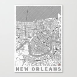 New Orleans Map Line Canvas Print