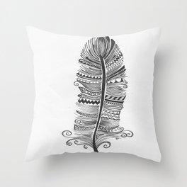 Black and White Feather Zen Throw Pillow