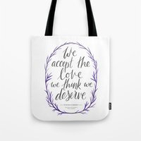 the perks of being a wallflower Tote Bags featuring The Perks of Being a Wallflower quote by IndigoEleven