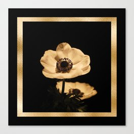 Anemone Flowers, Black with Golden Frame, Floral Nature Photography Canvas Print
