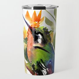 Birds and Flowers, Hummingbird Orange Green art Travel Mug