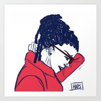 cosima Art Prints featuring Cosima in Red by the-haps
