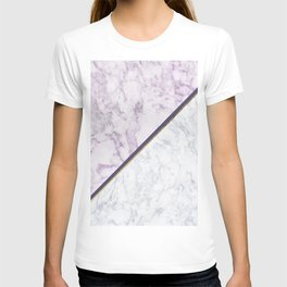 Lavender white faux gold abstract geometric marble T-shirt
