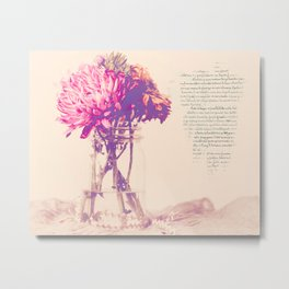 Dahlias with French Script Metal Print