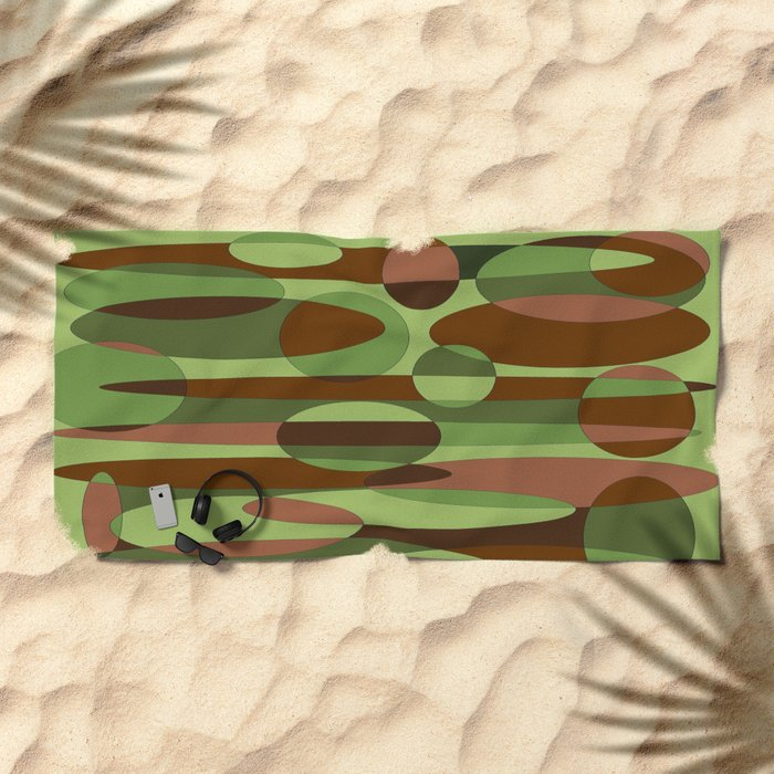 Trendy Green and Brown Camouflage Spheres Beach Towel