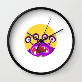 Monster Head with four eyes and drool Wall Clock