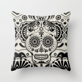 Sugar Skull Art B&W Throw Pillow