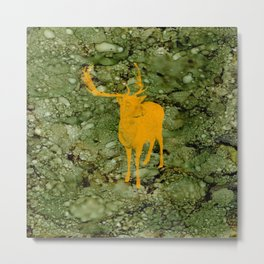 Deer on Green Camo Metal Print