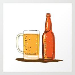 Craft Beer Bottle and Mug Watercolor Art Print