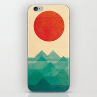 one line iPhone & iPod Skins featuring The ocean, the sea, the wave by Picomodi