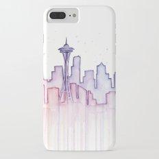 Seattle Skyline Watercolor Slim Case iPhone 7 Plus