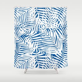 Tropical Blue Leaves Shower Curtain