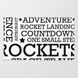 Space Text inspirational poster. Rug