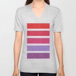 Red & Purple Geometric Pattern Unisex V-Neck