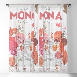 Vintage La Mas Mona de Todas Wine Bottle Label Print Sheer Curtain