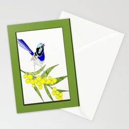 Blue Wren and Golden Wattle Stationery Cards