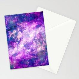 Majestic Teal Purple Starry Space Nebula Stationery Cards