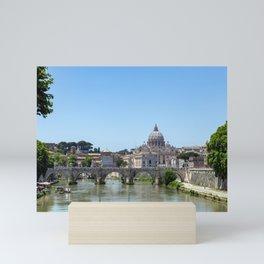 Sant'angelo bridge and St. Peter's Basilica - Rome, Italy Mini Art Print