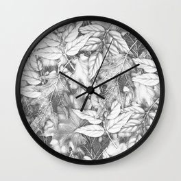 Autumn black white maple leaves bohemian floral pattern Wall Clock