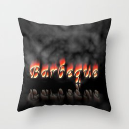 Barbeque Text On Fire Throw Pillow